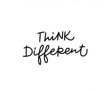 Think different quote lettering. Calligraphy inspiration graphic design typography element. Hand written postcard. Cute simple black vector sign
